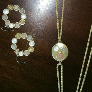 Lucky Brand Druzy & Pearl Necklace & Earring Set